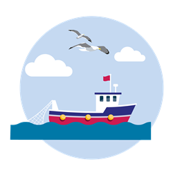 Fishing boat and seagulls flyign overhead illustration