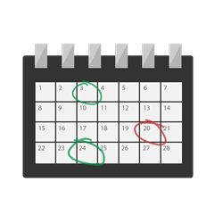 Illustration of a calendar with some days highlighted