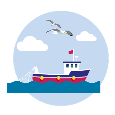 Fishing boat illustration with seabirds flying overhead
